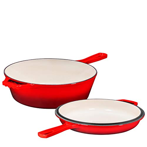 Enameled 2-In-1 Cast Iron Multi-Cooker By Bruntmor – Heavy Duty 3 Quart Skillet and Lid Set, Versatile Healthy Design, Non-Stick Kitchen Cookware, Use As Dutch Oven Frying Pan