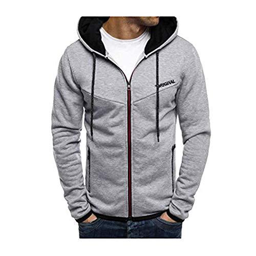 Dasongff heren sweatjack hoodie jack met capuchon sweatshirt capuchon ritssluiting mannen lange mouwen cardigan mantel met capuchon contrast patchwork jogging pak sportswear Large grijs