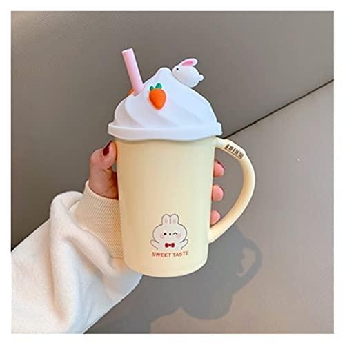 Taza de agua Taza de conejo de dibujos animados de 400 ml Kawaii con tapa y paja Preciosas tazas de cerámica Tazas de café Oficina casera Té Milk Water Cup Regalo para niñas ( Color : Yellow Mugs )