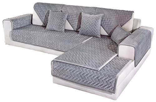 OstepDecor Sectional Couch Covers, Velvet Sofa Cover, Quilted Sofa Slipcover for Dogs Cats Pet Love Seat Recliner Leather L Shaped, Armrest Backrest Cover, Gray 43 x 82 Inches