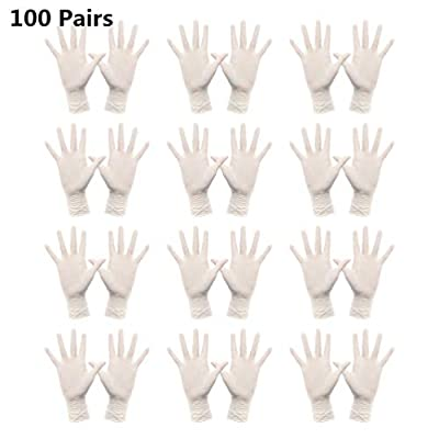 Yarnow 100 Pairs Disposable Gloves Medical Gloves Vinyl Powder Free Touch Screen Clear Gloves Examination Food Prep Gloves for Cleaning Working Washing (M)