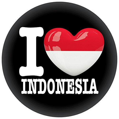 FanShirts4u Button/Badge/Pin - I Love INDONESIEN Fahne Flagge INDONESIA (I Love Indonesia)