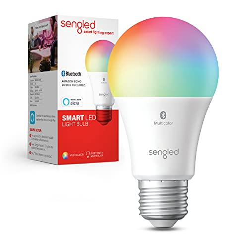 Sengled Smart Light Bulbs, Color Changing Alexa Light Bulb Bluetooth Mesh, Smart Bulbs That Work with Alexa Only, Dimmable LED Bulb A19 E26 Multicolor, High CRI, High Brightness, 9W 800LM, 1Pack