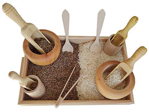 GERILEO Juego de Accesorios de Cocina de Madera - Trasvases Montessori - Juego heurístico - Bandeja con Pinzas, cucharas, cubiletes, morteros, Palas de Madera (12 Piezas de Madera)