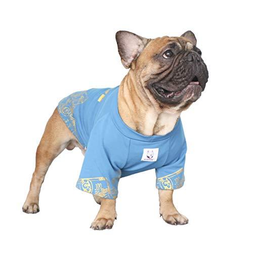 ICHOUE Rich Dog Series Pet Clothes Shirt T-Shirt Pullover Tank Top French Bulldog Pug Boston Terrier T-Shirt - Blue Money M