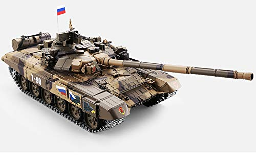 Remote Control 2.4Ghz 1/16 Scale Russian T-90 Main Battle Air Soft RC Tank Smoke & Sound (Upgrade Version w/ Metal Gear & Tracks)