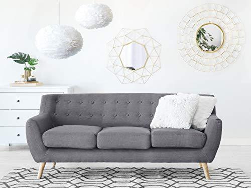 Beliani Mid Century Modern 3 Seater Sofa Button Tufted Grey Motala