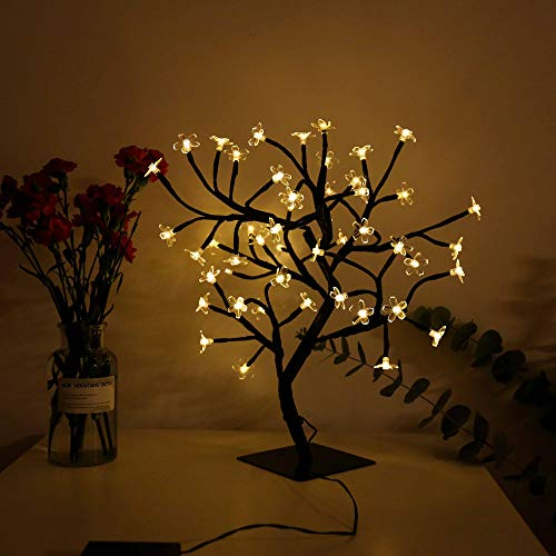LED Bonsai Tree Light Cherry Blossom Crystal Flower Adjustable Branches Artificial Tree Timer Battery Operated for Home Decoration Night Light and Gift (Warm White)