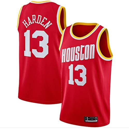 LITBIT Camiseta de baloncesto para hombre, de la NBA Houston Rockets 13 # Harden Retro 2021, transpirable, secado rápido, resistente al desgaste, sin mangas, para deportes, rojo, L