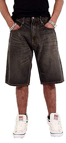 Rocawear Hombre Niño Doble R Estrella Holgado Patinadora Hip Hop Vaqueros Cortos Is G Time Nappy Money - Negro Arena Lavado, Cintura 30 (76cm) x Regular