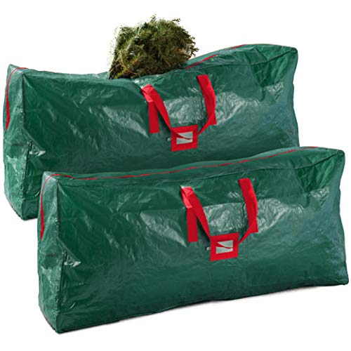 2-Pack Christmas Tree Storage Bag – Artificial Disassembled Tree; Durable Reinforced Handles & Dual Zipper - Waterproof Material Protects from Dust, Moisture & Insect (9 Ft., Green)