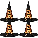 Syhood 4 Piezas Sombreros de Bruja de Halloween Gorro de Bruja de Mujer Accesorio de Disfraz para Favor de Fiesta de Halloween (Naranja)