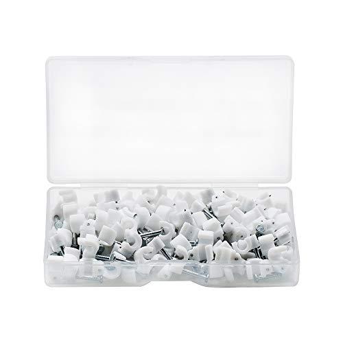 SENDILI 110 Stück Kabelschellen Nagelschellen - Weiß Kabelschelle Runde Kabelclips mit Nagel für Kabel, 4mm / 110 Stücke