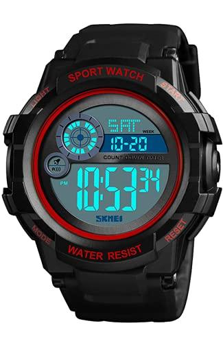 Reloj Digital Niños, 5 ATM Impermeable Relojes de Pulsera de Grande para Niños Adolescentes, Relojes Deportivos para Hombre Rojo con LED/Temporizador/Alarma/Cronómetro
