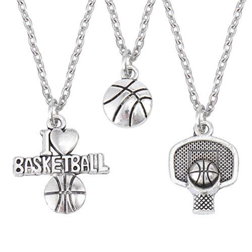 VORCOOL Colar com 3 peças para amantes de basquete, corrente de cesta de basquete, pingente de basquete I Love Basketball para casais, homens e mulheres