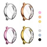 Yolovie (4 Pack) Screen Protector Case Compatible for Samsung Galaxy Watch Active 2 44mm Silicone Rugged Bumper All-Around Protective Plated Shell Face cover (Active2 44mm Silver/RoseGold/Pink/Gold)