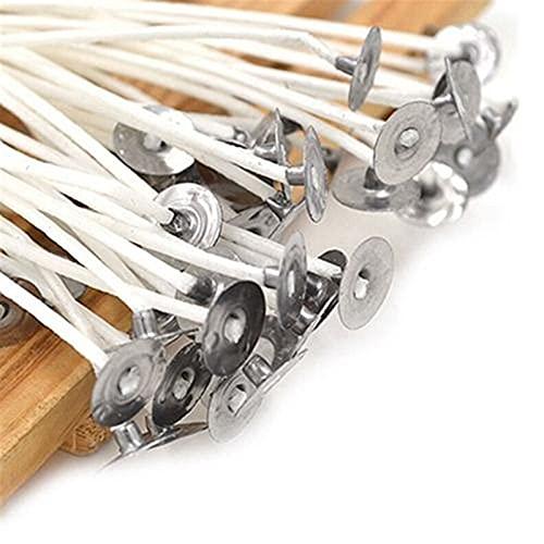 ZhuFengshop 30 unids Velas mechas de algodón Blanco Core Wams Wicks con Sustentador para Las Velas de Arte de Bricolaje Accesorios de mechas pre-heridas para la fabricación de Velas