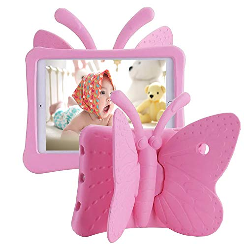 Tading iPad 6th Generation Case for Kids, iPad 9.7 inch Case, Light Weight Shockproof EVA Foam Protective Tablet Stand Cover Holder for Apple iPad Air/Air 2 iPad 9.7 2017/2018 - Cute Butterfly, Pink