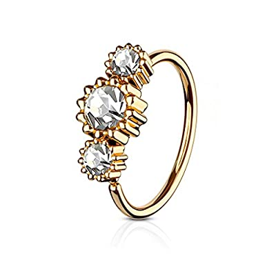 3 Round CZ Set Rose Gold IP Plated 316L Surgical Steel WildKlass Hoop Ring for Nose & Ear Cartilage (Aurora Borealis)