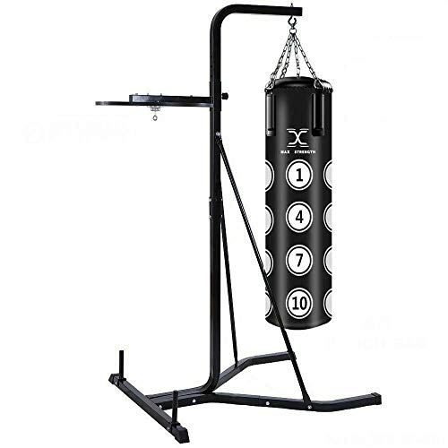 "Max Strength 2 Way Free Standing punch bag Frame 6'2"" high and 4' filled Punching bag with Speedball Platform set in black colour (Frame With Hanging Punch Bag)"