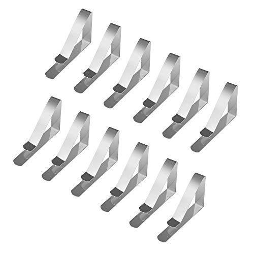 Jazzka Nappe Clips Pinces à Nappe De Table en Acier inoxydable Maison Tapis Pique-nique Colliers de serrage Housse Supports Argenté 12-Pack