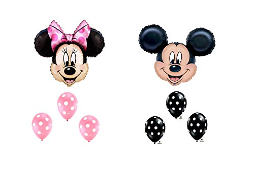 MAD ABOUT MINNIE MOUSE AND MICKEY MOUSE Head XL BIRTHDAY PARTY Balloon Decorations Supplies by Anagram