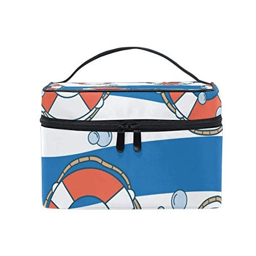Vanity et Trousses à Maquillage Makeup Cosmetic Bag Lifebuoy Water Blue White Waves Stripe Portable Travel Train Case Toiletry Bags Organizer Multifunction Storage Travel Daily Carry