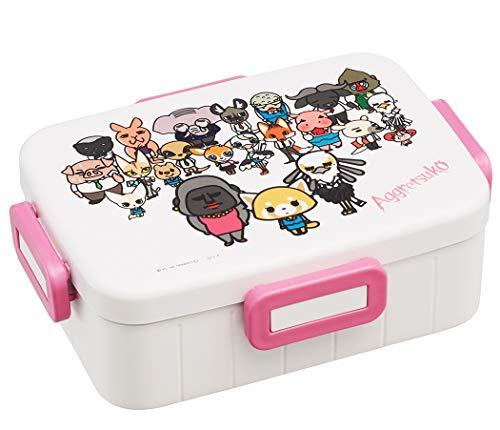 Skater Sanrio Aggretsuko Bento Box Container 650ml - Cute Lunch Carrier with Secure 4-Point Locking Lid - Authentic Japanese Design - Durable Microwave and Dishwasher Safe