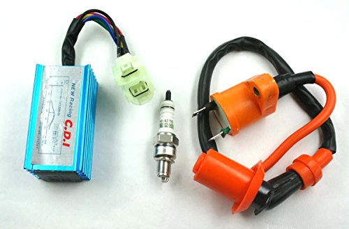 XA High Performance Racing Ignition Coil + Spark Plug A7TC + CDI GY6 50cc 125cc 150cc for 4-stroke Engines Scooter ATV Go Kart Moped Quad Pit Dirt Bike Cart USA SELLER