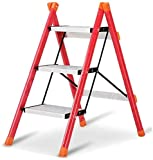 N/Z Home Equipment Step stools Three step Ladder Stool Glass Fibre Reinforced Stepladders Bathroom One sided Ladder Stool Storage Rack Bench (Color : Red Size : 40 * 70 * 82cm)