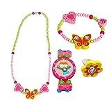 Bino 4 TLG. Set Holzschmuck Mädchenschmuck Kinderschmuck Motiv Schmetterling Gelb - Halskette Armband Armbanduhr + 1 Zufallsring