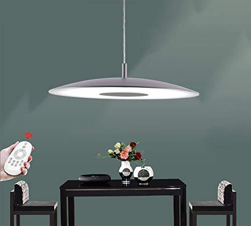 LED Pendelleuchte Esstischlampe Dimmbar Pendellampe Kronleuchter Grau Höhenverstellbare Hängelampe Wohnzimmer Deckenleuchte Küchenlampe Bürolampe Schlafzimmerleuchter Moderner Hängeleuchte Glas