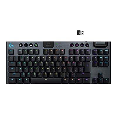 Logitech G915 TKL Tenkeyless Lightspeed Wireless RGB Mechanical Gaming Keyboard, Low Profile Switch Options, LIGHTSYNC RGB, Advanced Wireless and Bluetooth Support - Clicky