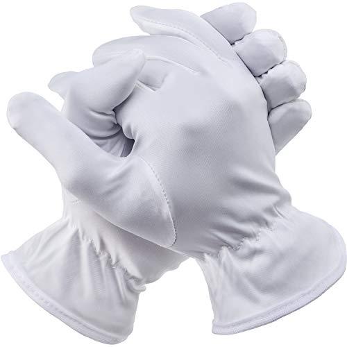 3 Pares de Guantes de Completos Dedos de Halloween Accesorios de Disfraz para Halloween (Adulto Mujer, Corto Blanco)
