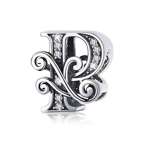 Abalorio de plata de ley 925, diseño de letra Q, para pulsera o collar P