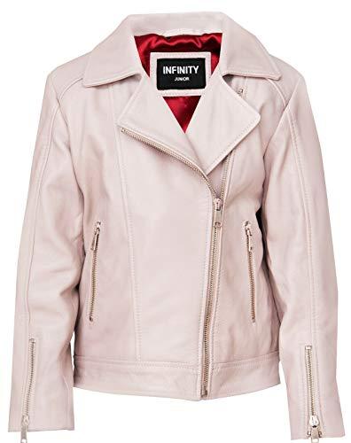 Infinity Leather Chaquetas para Niños Chaqueta de 100% Cuero de Diseñador para Niñas Abrigos de Motorista con Cremallera (1-13 Años)