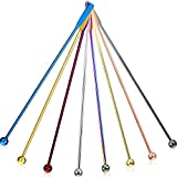 7.5 Inches Stainless Steel Coffee Beverage Stirrers Drink Swizzle Stick with Small Rectangular Paddles, Set of 8 Beverage Stirrers for Coffee Cocktail Chocolate Milk Juices (Multicolor)