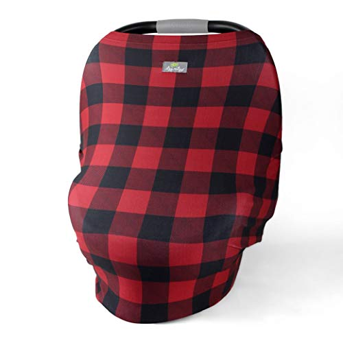 Itzy Ritzy 4-in-1 Nursing Cover, Car Seat Cover, Shopping Cart Cover and Infinity Scarf – Breathable, Multi-Use Mom Boss Breastfeeding Cover, Car Seat Canopy, Cart Cover & Scarf, Buffalo Plaid