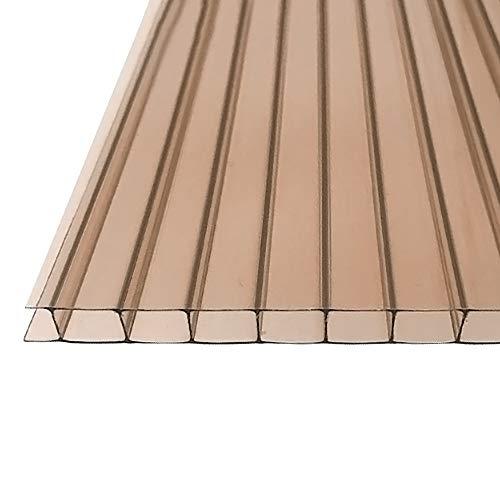 Fscm 14 Stück Polycarbonat Hohlkammerstegplatten Ersatzplatten für Garten Treibhaus 1210x605x4mm ca. 10,25 m² Doppelstegplatte Stegplatte Gewächshausplatte mit UV-beständigen (Braun)