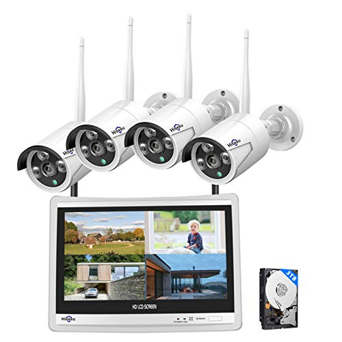 [8CH Expandable] Hiseeu All in one with 12' LCD Monitor Wireless Security Camera System, Home Business 8CH 1080P NVR Kit 4pcs 2MP Outdoor Bullet IP Cameras Night Vision Waterproof,3TB Hard Drive