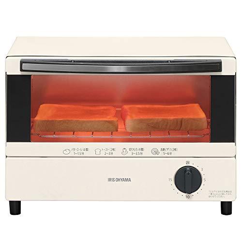 アイリスオーヤマ オーブントースター 2枚 トースト 1000W トレー 付 ホワイト EOT-011-W