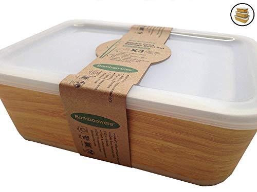 Boîte Alimentaire de Bambou ♻ 3 Boîtes de Conservation Alimentaire en Fibre de Bambou - Récipient hermétique, Écologique, Recyclable et Biodégradable - Va au Lave-Vaisselle - Bamboo Eco, Bio, sans BPA