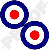 RAF British Royal AirForce Type D Aircraft Roundels 3' (75mm) Vinyl Stickers, Decals x2