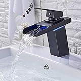 SUGU LED Schwarz Wasserhahn Waschbecken Waschbecken Armatur Wasserfall uslauf Waschtischarmatur