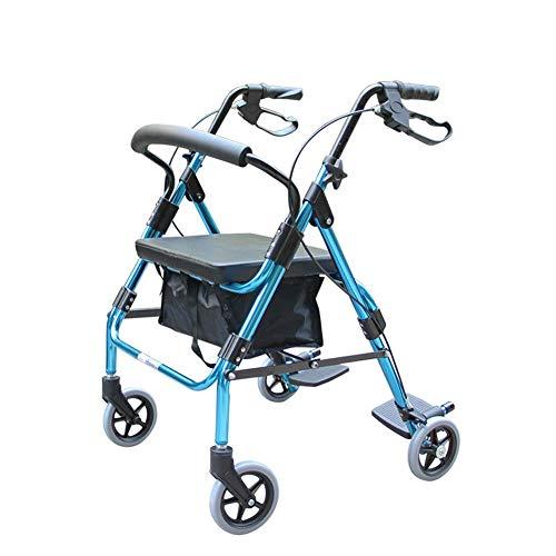 WLIXZ Rollator-Walker, schwere Ausführung mit großem gepolstertem Sitz mit bis zu 400 lb Kapazität, robuste Rollator-Mobilität,2