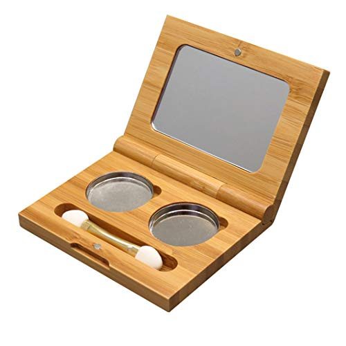 Bamboo Empty Eye Shadow Case Box Double Grid Magnetic Eyeshadow Makeup Palette Cosmetics Organizer Container with Makeup Brush and Aluminum Palette Pans for Eye Shadow, Blush, Powder