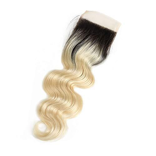 UICICI Body Wave Curly 1b / 613 Blonde Extension de Trame de Cheveux Blonde 4x4 Dentelle Frontale 100% Cheveux Humains (8 Pouces - 20 Pouces) (Couleur : Blonde, Size : 18 inch)