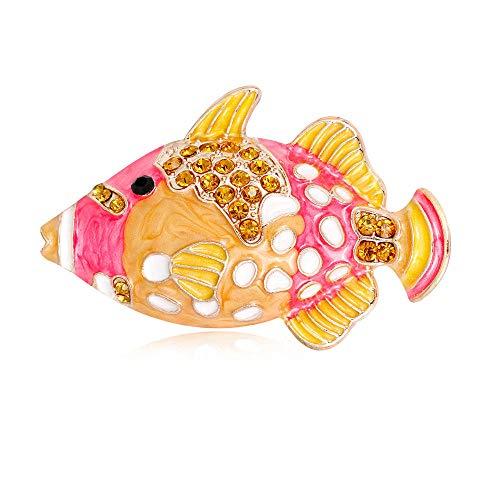 JJrainning broche Vissen botten Goldfish karper karper broche naald vrouwelijke dier strass shell broche simulatie parel sieraden