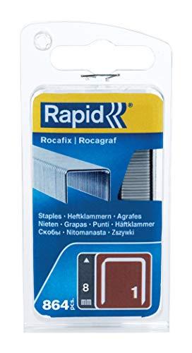 Rapid, 40109539, Agrafes en fil plat N°1, Longueur 8mm, 864 pièces, Pour les outils Rocagraf, Fil galvanisé