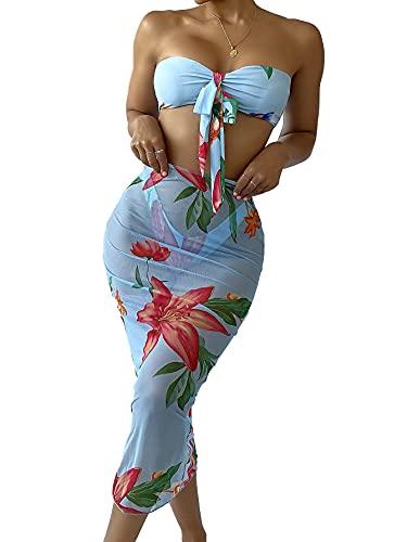 MakeMeChic Women's 3 Piece Floral Print Bandeau Bikini Set Swimsuit Bathing Suit with Beach Skirt Blue L